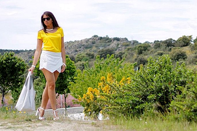 Outfit des Tages: Yellow Tee und White Wrap Skort